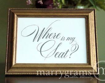 Where is My Seat Table Card Sign - Wedding Reception Seating Signage - Matching Numbers Available - Wedding Seating Sign SS04