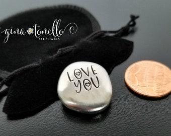 Love You Pocket Coin, Boyfriend Gift, Gift for Husband Good Luck Charm, Police Officer Gift, Firefighter Gift, Valentines Day Gift for Him