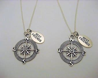 Compass Necklace Set, Long Distance Best Friends Necklace, Best Friends Jewelry, Compass Jewelry, Nautical Necklace Set, Nautical Necklace
