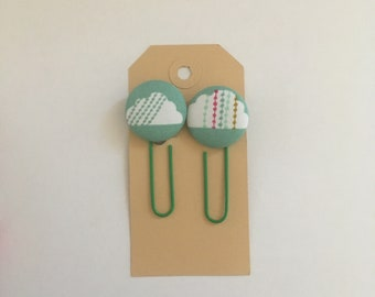 Set of 2 cloud planner clips, pagemarker, planner clips, planner supply, paperclips,