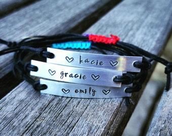 Custom Hand Stamped Bracelet, friendship bracelet, Custom Name Jewelry, Quote Bracelet, Gift Idea, bulk stamped bracelets