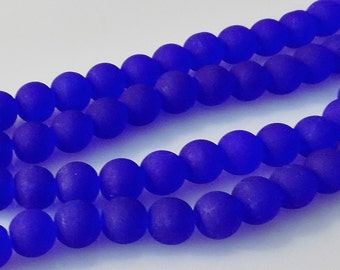 """WHOLESALE - Frosted Cobalt Blue 8mm Round Glass Beads (Three 30"""" Strands)"""