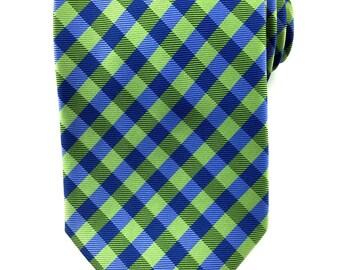 Lime Green Checkered Necktie 8.5 cm. Green Blue Checkered Tie. Handmade Tie. Formal Suit Tie. Business Tie. Groomsmen Tie. Green tie.