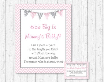 Pink Chevron How Big Is Mommy's Belly Game / Chevron Pattern / Pink & Grey / Baby Girl / Belly Guessing Game / INSTANT DOWNLOAD A201