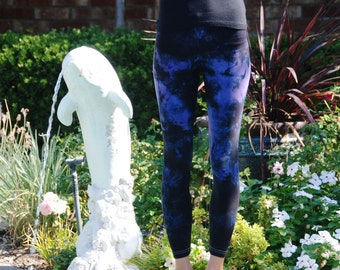 Tall Twilight Purple Tie Dye Yoga Leggings including Extra Long and Plus Size by Splash Dye Activewear
