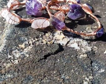 Amethyst Wire Wrapped Gemstone Bangles