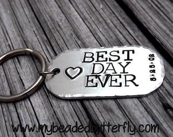Best day ever-keychain-wedding-bridal-groomsmen gift-bride groom gift
