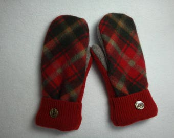 Ladies Upcycled Wool Mittens Red, Green and Beige Tartan