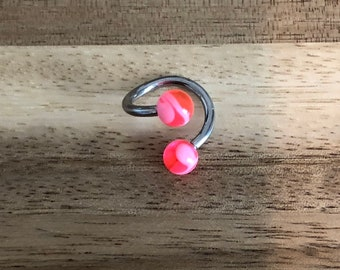 Hot Pink and White Swirl Acrylic Balls Twist Barbell Body Piercing Jewelry