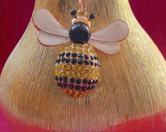 Beautiful Yellow & Black  Diamante Honey Bee Purse Ladies Handbag Key Ring Chain Lucky Gift