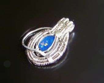 Opal Pendant Heady Wire Wrapped in .925 Sterling Silver, Black Opal Pendant, Australian Opal Pendant