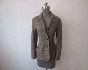 Vintage '70s Bar Harbor Sportswear Tweedy Wool Herringbone 2 Button Blazer, 34 Inch Bust, Small