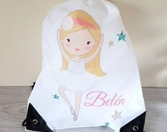 Ballet bag ballet gift dance bag tote bag gym bag drawstring backpack drawstring bag school bag sports bag ballerina personalised bag