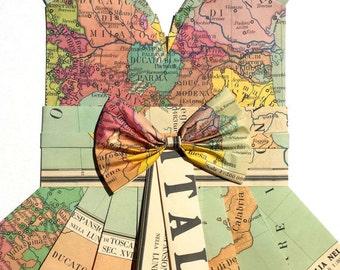 "ITALY ITALIA Map Dress - CUSTOM Hand-Folded Map Dress - 18"" x 24"" - Choose your Style! - Nursery Wall Decor Art"