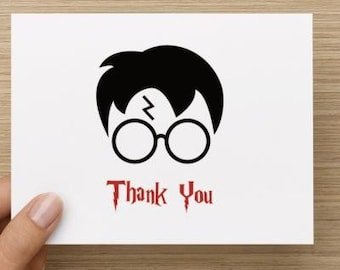 Thank you cards: Personally designed card with Harry Potter inspired elements.   Multiple pack sizes available.