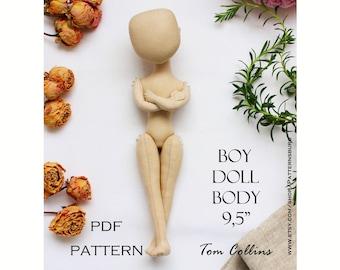 pdf doll 9,5 inches, boy, pdf pattern doll, PDF pattern, body doll, pdf pattern without tutorial, Cloth Doll Pattern textile doll