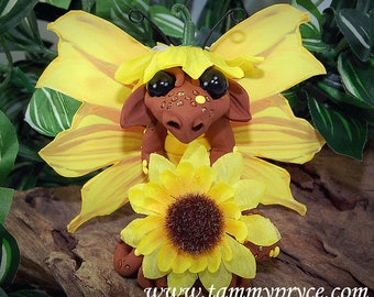 Polymer Clay Sunflower Butterfly Dragon Sculpture Fantasy Home Decor Statue and Collectibles