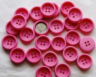 25 Pink Buttons, Thick Deep Face Button, 4 hole Sew Through Buttons, Matching Buttons (AL 32)