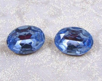 Vintage Oval Light Sapphire Blue Glass Jewels or Stones, 18X13 mm, 2