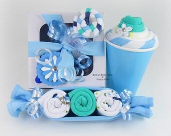 Onesie Cupcake Gift Set, Baby Boy Gift Set, Baby Boy Onesie Cupcake Gift Set, Washcloth Peapod, Lollipop Washcloth, Unique Baby Gift