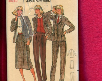 1980's Butterick 6741 Retro Jones New York Suit Pattern Size 12 UNCUT
