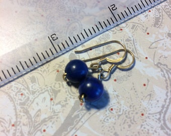 Lapis lazuli earrings on 14kt gold filled wire. Solid blue, no gold.