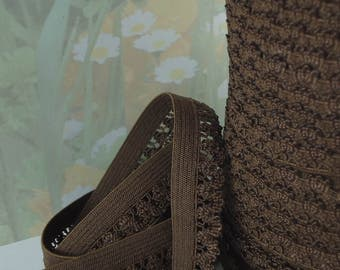 5yd Stretch Lace Dark Brown 1/2 inch Picot Skinny elastic band Rick Rack Scallop for Headband lingerie single side edging lace by the 5 yard
