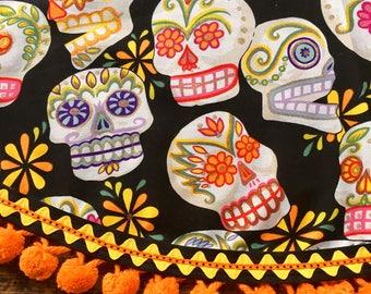 Day of the Dead Tablecloth Mexican Sugar Skulls Black Orange Vintage PomPoms