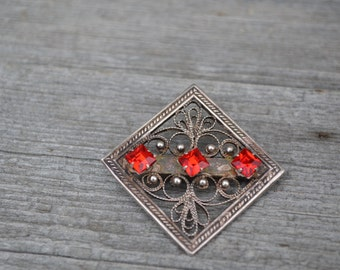 Silver square filigree brooch, Vintage brooch is covered with silver, perfect gift for collectible, brooch for birthday, decoration for lady