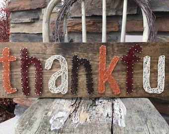 Thankful string art sign