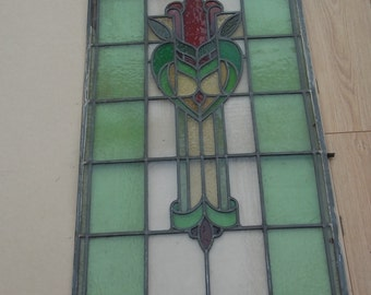 Vintage Stained Glass Leaded Window Panel 2