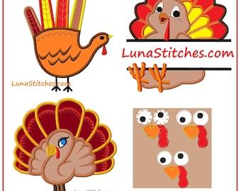 SALE Cutest Turkey Bird Design BUNDLE Applique Embroidery Designs instant Download