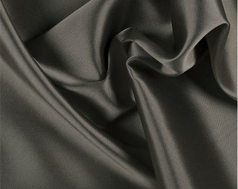 Lt Taupe/Black Silk/Wool Gab, Fabric By The Yard