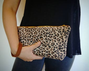 Clutch leather leopard and camel