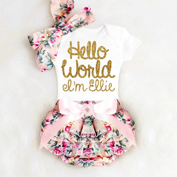 Newborn girl take home outfit personalized baby girl going like this item negle Images