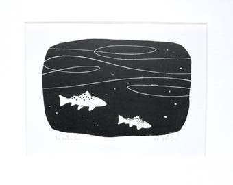 The Hatch Pool:  black and white block print, inspired by fly fishing for trout