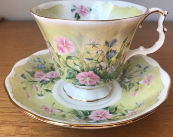 "Royal Albert Teacup and Saucer, Shakespeares Flowers ""Glorious Morning"" Green and Pink tea Cup and Saucer"