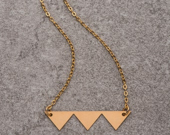 Geometric triangle necklace, geometric necklace, minimalist necklace, gift for her,bib necklace, statement necklace