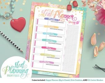 Printable Colorful Weekly Meal Planner| For Happy Planner | Erin Condren | U.S. Letter Binders | Instant Download