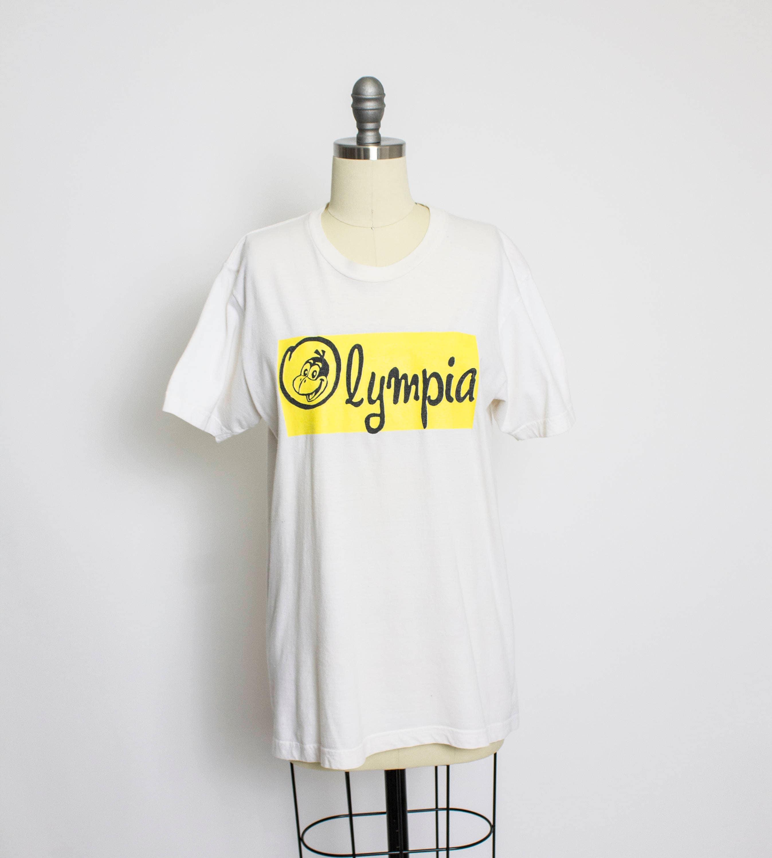Vintage 1960s T-Shirt - Ivory Yardbirds Olympia Washington Home Store Buzzard Tee - Small ZmsCyzc