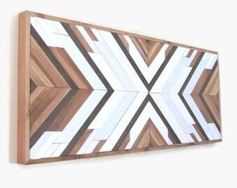 Wood Wall Art, Geometric Wood, Southwest Wood Art, Reclaimed Wood, Tribal Wood Wall, Boho Wood Art, Navajo Wood, Coastal,  Beach Wood
