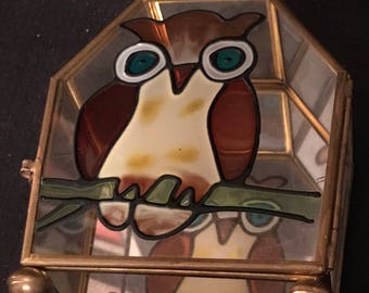 Vintage Owl Jewelry Box Glass Brass with Mirror Collectible 60's Owl Stained Glass Box SALE PRICE was 12.99 now 9.99
