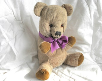 "Antique Chubby Bear - 12"" 1930's Mohair Teddy Bear with Working Squeaker"