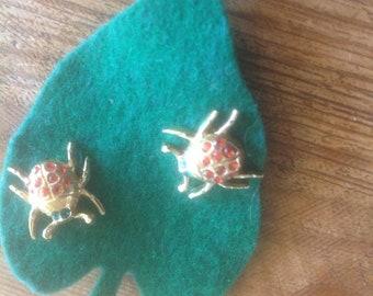 Ladybug Pair Lapel Pins Vintage