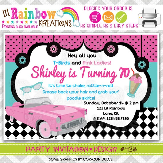 438 DIY 1950s Pink Chevy Party Invitation Or Thank You