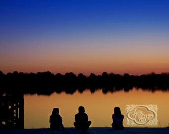 3 Girls at Sunset on Lake Shoreline Silhouette - Fine Art Photograph Print Picture