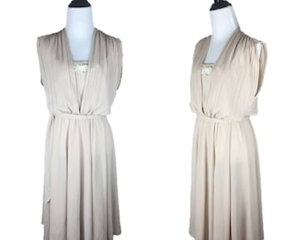 80s Beige Dress / 70s Sheer Dress / 1980s Sleeveless Dress / 70s Disco Dress / Lace Applique Dress / 70s Beige Dress / Shelby Place 12 M L