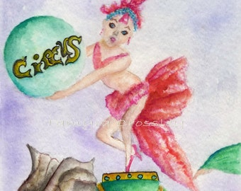 Circus Elephant ORIGINAL Watercolor by Tamyra Crossley.  5x7