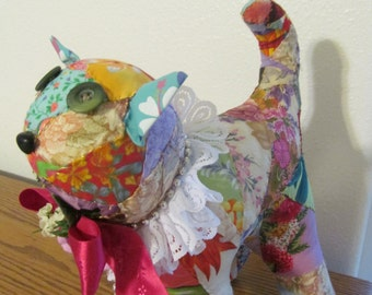 Hawaiian Crazy Quilt Victorian SOFT SCULPTURE CAT with Whiskers  by Marianne of Maui