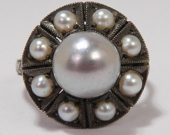 Antique Edwardian Sterling Silver Large 8mm Center Japanese Cultured Pearl Cluster Ring